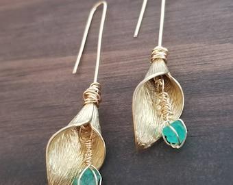 Cartucho Rough Emerald Earrings