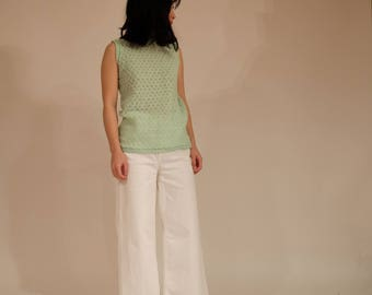 Light Green Knit Sleeveless Top, S