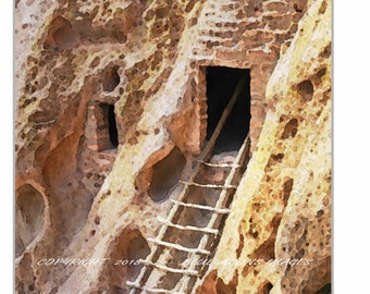 Santa Fe New Mexico Bandolier National Monument Cliff Dwelling Watercolor Effect Giclee Art Print