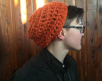 Crocheted Beanie, Slouchy hat, cozy warm hat,