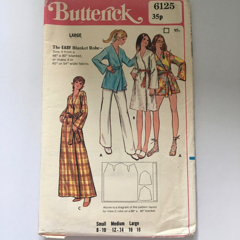 Sleep Craft 6125 Multi Size Large 16 to 18 Easy Blanket Robe Dressing Gown Vintage Sewing Pattern Night Women Butterick