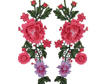 Pink Long Roses & Flowers Pair of Fabric Patches - Embroidery - Applique - Jeans - Jackets - Embroidered - Backpacks - Sew On - Floral