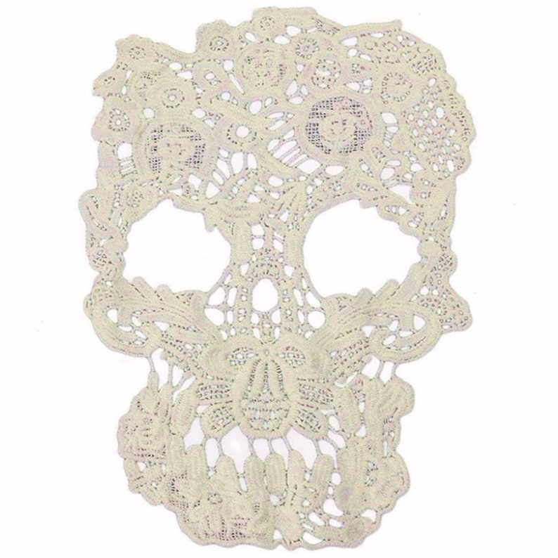 Jackets Soft UK Sellers Only Sew On Intricate Pretty Cream Lace Skull Applique Fabric Patch Craft Supply Gift for Her