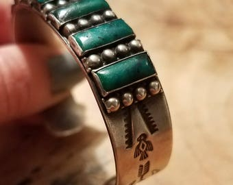 Vintage 1940's Silver and Turquoise Native American Made Hand Made Cuff Bracelet