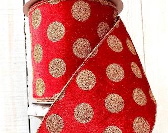 Red velvet gold polka dot Ribbon, Polka dot ribbon, Luxury Ribbon, Wreath Supplies