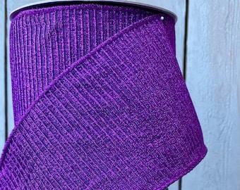 Farrisilk Ribbon, purple pleated  ribbon, Wired Ribbon, Luxury Ribbon, holiday ribbon, Wreath Supplies