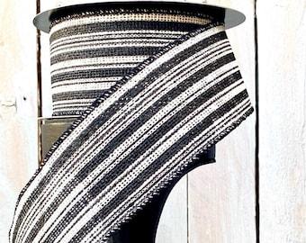 "Wired Ribbon, D. Stevens Ribbons, Halloween ribbon, black and white striped ribbon, October 31, 2.5"" ribbon"