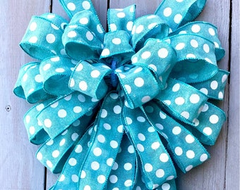 Summer Bow,  Blue bow, polka dot Wreath Bow, lantern bow, Wreath bow, Big bow, Polka Dot Bow, wreath Bow, summer bow
