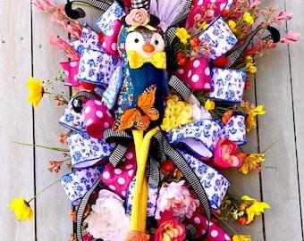 Summer swag, everyday Wreaths, summer wreath, door wreath, farmhouse wreath, everyday front door wreath, Ritzy Glitzy Wreaths, owl wreath
