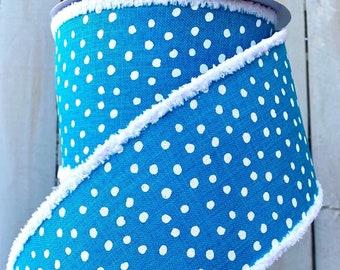 """Farrisilk Ribbon, blue dot ribbon, blue ribbon, turquoise ribbon, polka dot Linen Ribbon, Wreath Supplies, 4"""" ribbon, chenille edge ribbon"""