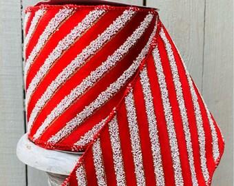 Striped Ribbon, Red stripe ribbon, Luxury Ribbon, Wreath Supplies