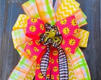 Summer Fun Bow, Summertime Bow, Wreath Bow, Spring Bow, Wreath Bow, Summer Bow, Big Bow, everyday bow, Door Bow, wreath bow, summer decor