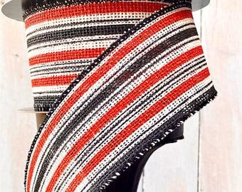 "Wired Ribbon, D. Stevens Ribbons, Halloween ribbon, black, orange, and white striped ribbon, October 31, 2.5"" ribbon"