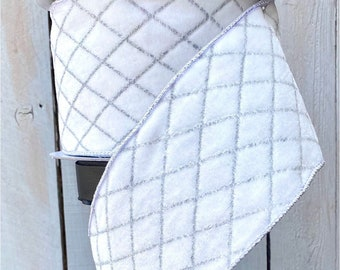 Farrisilk Ribbon, winter white silver harlequin ribbon, Wired Ribbon, Luxury Ribbon, white ribbon, Wreath Supplies, white owl ribbon