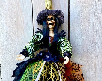 Witch Skeleton ornament, skeleton witch ornament, Halloween witch ornament, Halloween decor, day of the dead witch