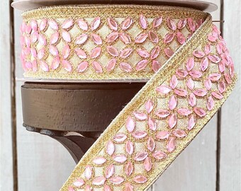 Farrisilk Ribbon, pink jeweled ribbons, Wired Ribbon, Luxury Ribbon, jeweled ribbon, Wreath Supplies, pink ribbon