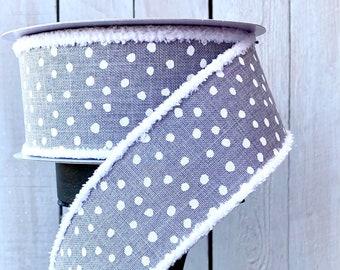 "Farrisilk Ribbon, grey dot ribbon, gray ribbon, grey ribbon, polka dot Linen Ribbon, Wreath Supplies, 2.5"" ribbon, chenille edge ribbon"