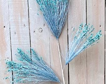 Blue sequins pine needles, wreath embellishments, wreath supplies, Easter supplies, spring supplies, Christmas supplies
