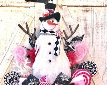 Ritzy Glitzy Wreaths Pink Snowman Wreath, Pink wreaths, harlequin wreath, snowman swag, winter door wreath, Christmas wreath
