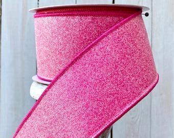"Farrisilk Ribbon, Fuscia pink ribbon, pink ribbon, hot pink ribbon, sugar glitter Luxury Ribbon, Wreath Supplies, 2.5"" ribbon"