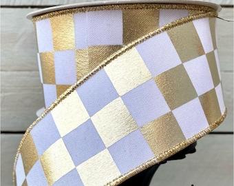 "Farrisilk Ribbon, 2.5"" platinum Checkered ribbon,Luxury Ribbon, white and platinum ribbon, Wreath Supplies, foil ribbon, vinyl ribbon"