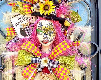 Ritzy Glitzy Wreaths Fall Swag for front door, pink Scarecrow Wreath, Autumn Swag, Fall Wreath, Fall Decor, Autumn Wreath, Autumn Decor
