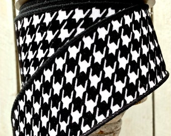 """Farrisilk Ribbon, Houndstooth 2.5"""" Wired Black and white ribbon, winter Ribbon, Wreath Supplies, 2.5"""" ribbon"""