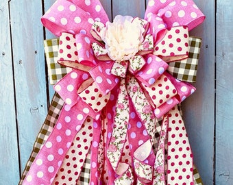 Wreath bow, Summer Bow, pink  bow, polka dot bow, romantic wreath bow, Lantern Bow, stairway bow, Big bow, rag bow