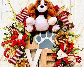 Dog wreath for front door, pet wreath for front door, animal pet wreath for front door wreath, dog decor, everyday pet wreath for front door