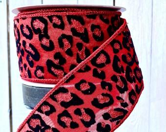 """Farrisilk Ribbon, 2.5"""" red Leopard metallic ribbon, Wired Ribbon, Luxury Ribbon, cheetah red ribbon, Wreath Supplies"""