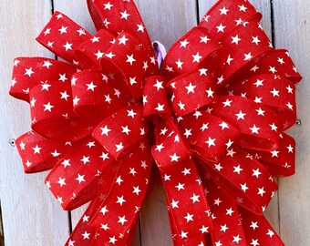 Patriotic Bow, 4th of July bow, Stars Wreath Bow, lantern bow, Wreaths bow, Patriotic wreath Bow, Basket Bow, American Bow