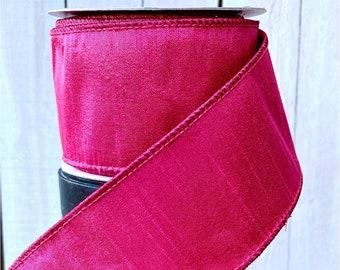 Farrisilk Ribbon, fuscia pink  ribbon, hot pink Wired Ribbon, Luxury Ribbon, holiday ribbon, Wreath Supplies