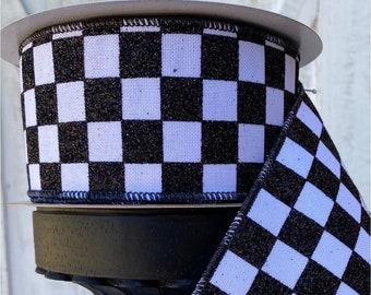 "Farrisilk Ribbon, Wired glitter Checkered Ribbon, Luxury Ribbon, Wreath Supplies, 2.5"" white and black ribbon, black and white ribbon"