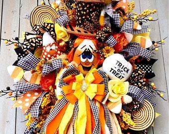 Ritzy Glitzy Wreaths Candy Corn Wreath for Halloween, Candy Corn Wreath, October 31, Fall Wreath