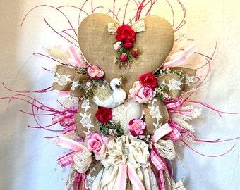 Ritzy Glitzy Wreaths, holiday door wreath, Front Door Wreath, Heart wreath, everyday romantic wreath, swan wreath