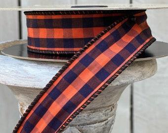 Wired Ribbon, D. Stevens Ribbons, Halloween ribbon, orange and black plaid ribbon, October 31, skinny ribbon