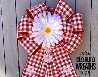 Summer Bow, Big Daisy Bow, country bow, farmhouse bow, Wreath bow, Big bow, Gingham Summer wreath Bow, summer wreath, wreath bow