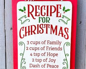 Mason Jar Recipe sign, mason jar wood sign, Christmas sign, holiday sign, Christmas decorations