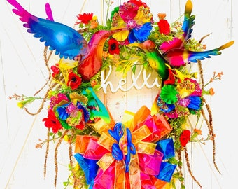 Hummingbird Summer Wreath, Fiesta Wreath, Fiesta Decor, Front Door Wreath, Everyday Wreath, Summertime Wreath, summer decor