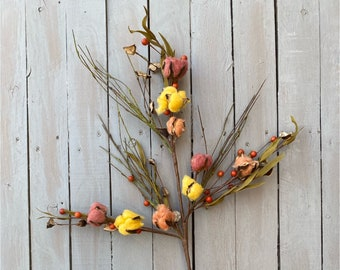 Fall Floral Candy Cotton spray, Fall cotton, cotton pick, fall decor, fall wreath, harvest cotton, berry leaf spray