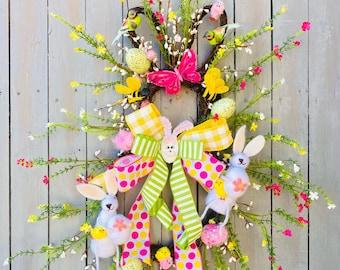 Easter Bunny Wreath, Easter Bunny Door Wreaths, Easter Wreaths for Front Doors, Spring Door Decor. holiday baubles decor