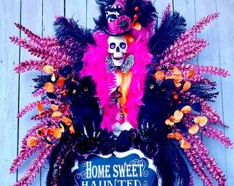 Mr. Bones Skeleton Wreath, Halloween skeleton wreath, Halloween Top Hat Skeleton, oct 31 wreath, home sweet haunted home, Halloween wreath