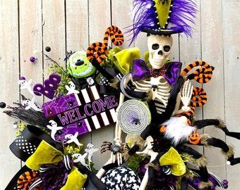 Mr. Bones Halloween wreath, Candy Skull Wreath for Door Decor, Fat Tuesday Skull Decorations, purple skull  Halloween wreath