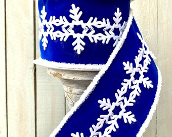 "Farrisilk Ribbon, Golden Fleece, 4"" Wired Blue white snowflake ribbon, Luxury winter Ribbon, Wreath Supplies, 4"" ribbon"