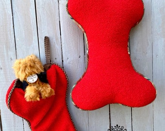 Pet bone stocking and bone pillow, red bone pillow, red bone Christmas stocking, D, Stevens