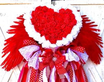 Angel Wreath, Valentines Day wreath, Heart Wreath, Love Wreath and Decor, Heart Shaped Wreaths, Wedding Gift,  Anniversary Wreath