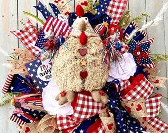Patriotic Wreath for Front Door, chicken wreath, rooster Patriotic Front Door Wreath. Americana Wreath for Front Door/4th of July Wreath