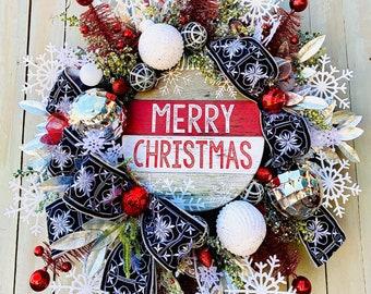 Ritzy Glitzy Wreaths Ornament Wreath, Christmas Ornament Wreath,  Front Door Wreath, Holiday Winter Decor, Christmas winter swag