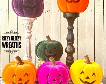 Flocked pumpkin, flocked pumpkins, flocked Halloween decoration, pink pumpkin, yellow pumpkin, orange pumpkin, purple pumpkin, green pumpkin