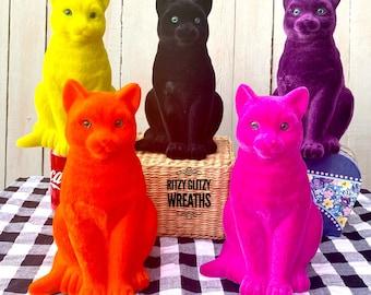 Flocked cats, flocked cat, pink cats, black cats, yellow cats, orange cats, purple cats, Halloween cats
